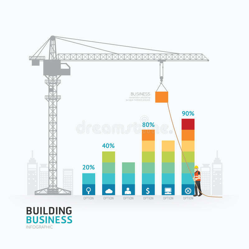 Σχέδιο προτύπων επιχειρησιακών γραφικών παραστάσεων Infographic οικοδόμηση στην επιτυχία γ ελεύθερη απεικόνιση δικαιώματος