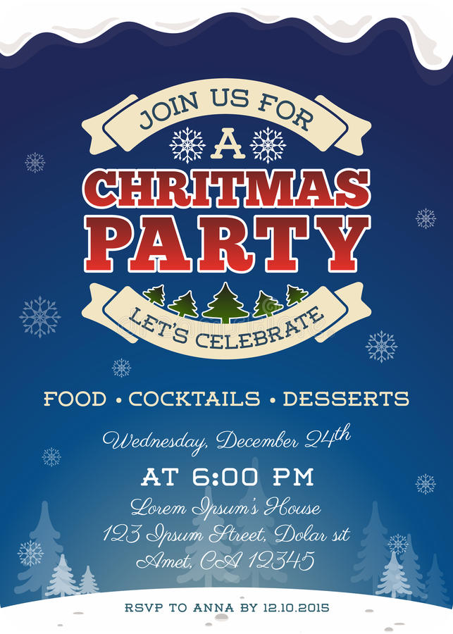 Σχέδιο προτύπων πρόσκλησης γιορτής Χριστουγέννων ελεύθερη απεικόνιση δικαιώματος