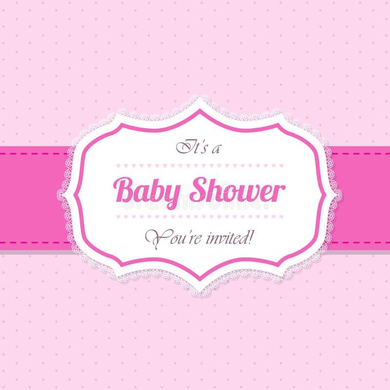 Σχέδιο πρόσκλησης ντους μωρών στο ροζ απεικόνιση αποθεμάτων