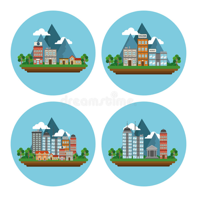 Σχέδιο πόλεων φύσης απεικόνιση αποθεμάτων