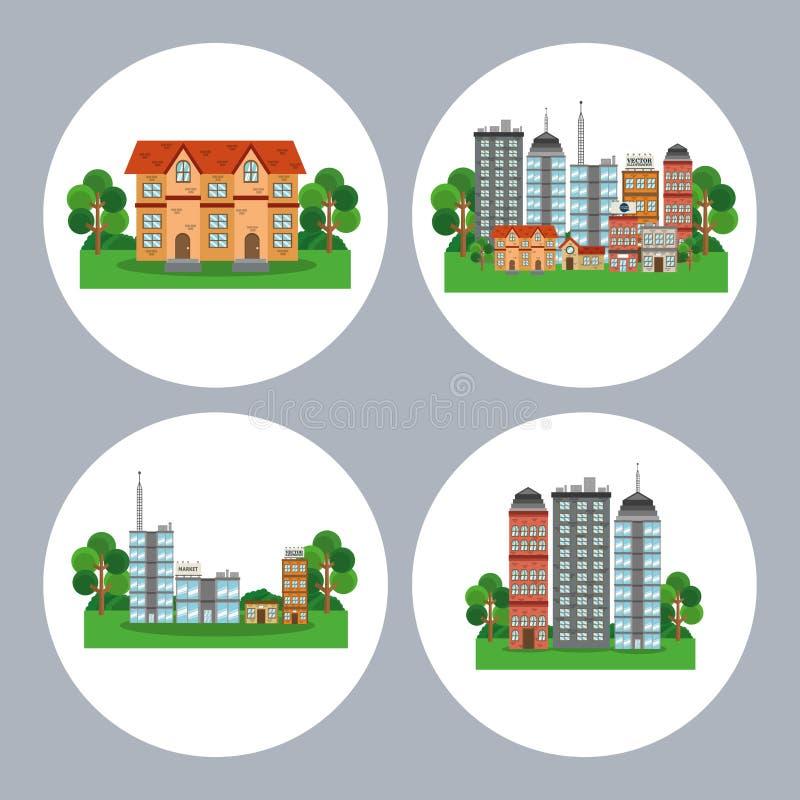 Σχέδιο πόλεων φύσης διανυσματική απεικόνιση