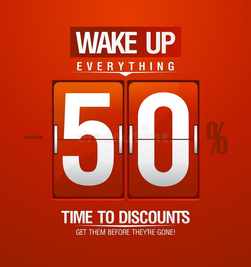 Σχέδιο πώλησης ξυπνήστε -50% για το δελτίο ελεύθερη απεικόνιση δικαιώματος
