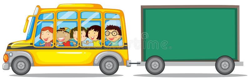 Σχέδιο πλαισίων με τα παιδιά στο λεωφορείο ελεύθερη απεικόνιση δικαιώματος