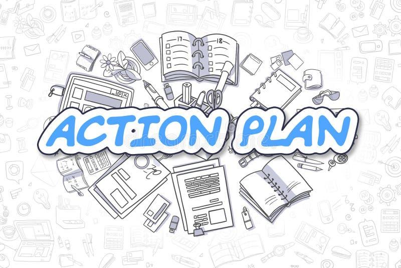 Σχέδιο δράσης - κινούμενα σχέδια το μπλε Word χρυσή ιδιοκτησία βασικών πλήκτρων επιχειρησιακής έννοιας που φθάνει στον ουρανό διανυσματική απεικόνιση