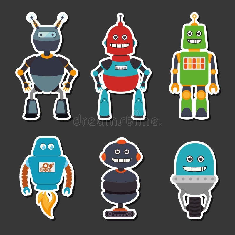 Σχέδιο ρομπότ πέρα από την γκρίζα διανυσματική απεικόνιση υποβάθρου απεικόνιση αποθεμάτων