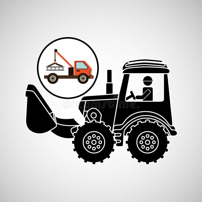 Σχέδιο ρυμούλκησης αυτοκινήτων έννοιας φορτηγών κατασκευής διανυσματική απεικόνιση