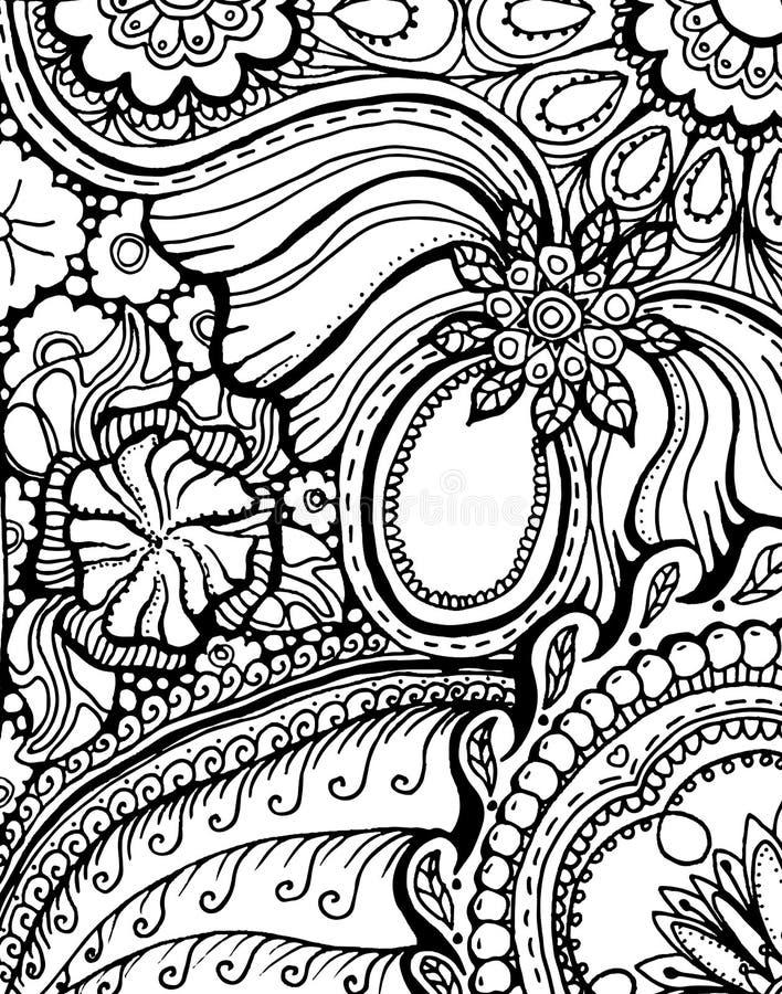 Σχέδιο σελίδων βιβλίων χρωματισμού με το σχέδιο Εθνική διακόσμηση Mandala διανυσματική απεικόνιση