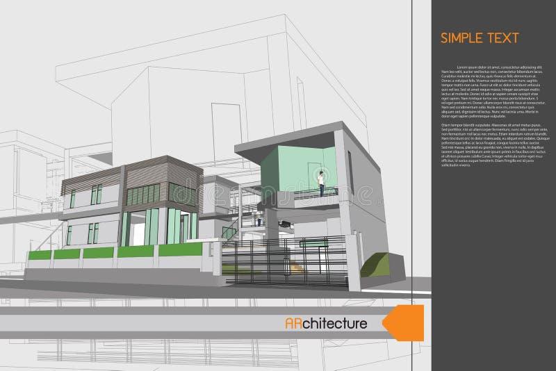 Σχέδιο σκίτσων του σπιτιού στον πίνακα σχεδίων στοκ εικόνες