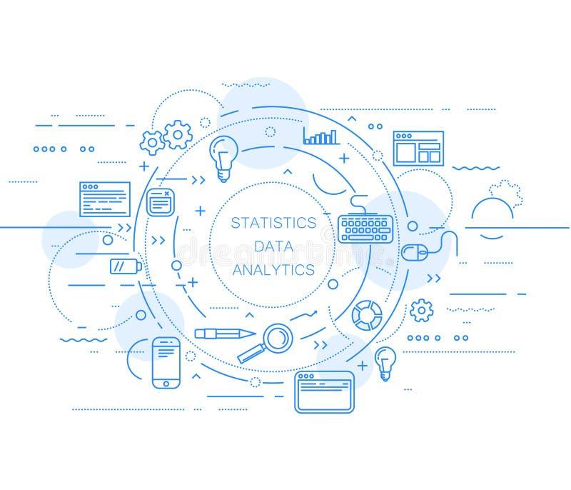 Σχέδιο στατιστικών analytics και στοιχείων ιστοχώρου διανυσματική απεικόνιση