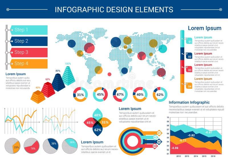 Σχέδιο στοιχείων Infographic με τον παγκόσμιο χάρτη, διαγράμματα διανυσματική απεικόνιση