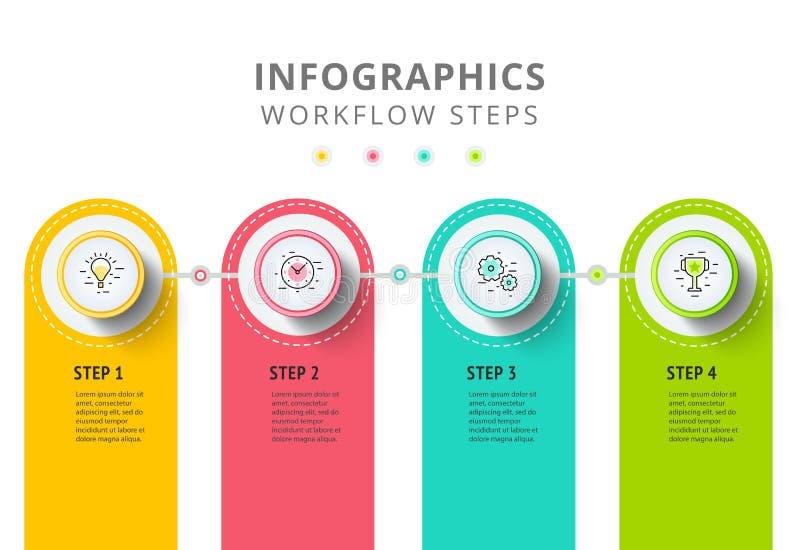 Σχέδιο στοιχείων infographics κύκλων Αφηρημένη επιχειρησιακή ροή της δουλειάς ελεύθερη απεικόνιση δικαιώματος