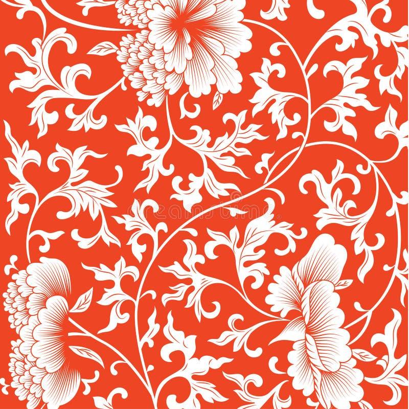 Σχέδιο στο κόκκινο υπόβαθρο με τα κινεζικά λουλούδια διανυσματική απεικόνιση