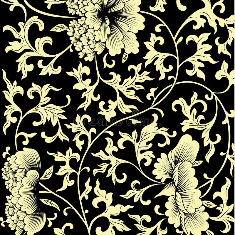 Σχέδιο στο μαύρο υπόβαθρο με τα κινεζικά λουλούδια απεικόνιση αποθεμάτων