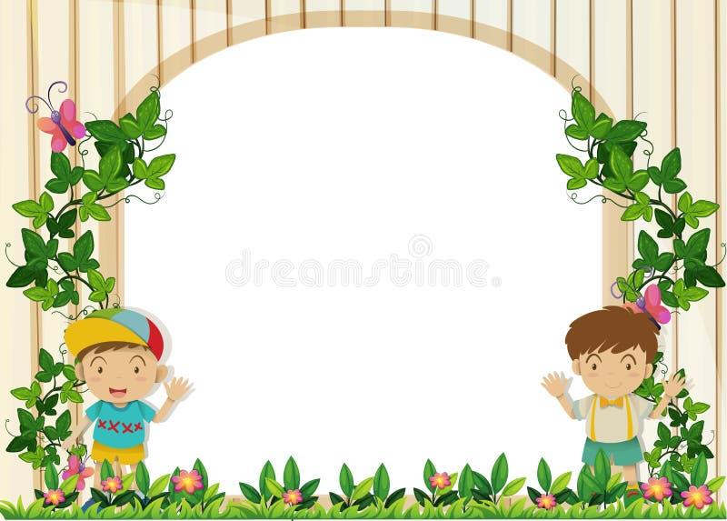 Σχέδιο συνόρων με τα αγόρια στον κήπο διανυσματική απεικόνιση