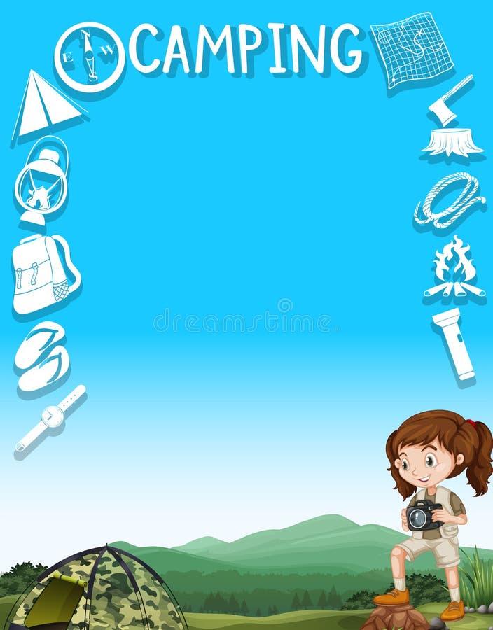 Σχέδιο συνόρων με τα εργαλεία κοριτσιών και στρατοπέδευσης ελεύθερη απεικόνιση δικαιώματος