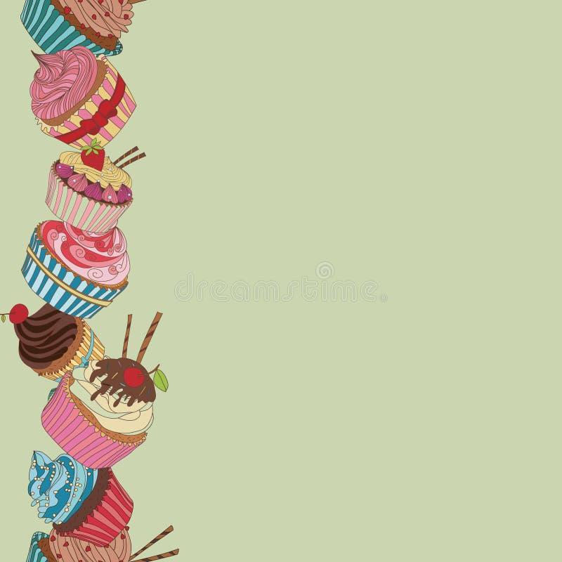 Σχέδιο συνόρων Cupcake διανυσματική απεικόνιση