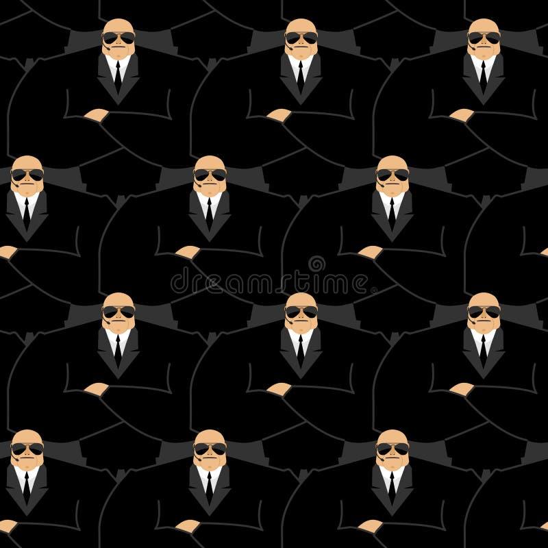 Σχέδιο σωματοφυλακών Ισχυρή φρουρά στο νυχτερινό κέντρο διασκέδασης Μαύρο κοστούμι και han ελεύθερη απεικόνιση δικαιώματος