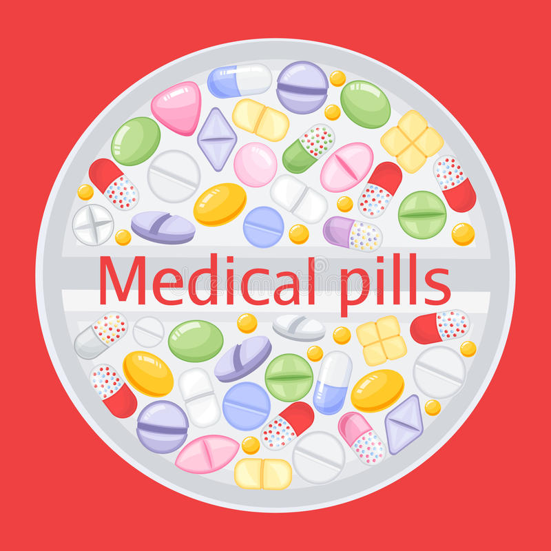 Σχέδιο ταμπλετών των διαφορετικών ζωηρόχρωμων χαπιών Χάπια παυσιπόνων ιατρικής, φαρμακευτικό διάνυσμα φαρμάκων αντιβιοτικών ελεύθερη απεικόνιση δικαιώματος