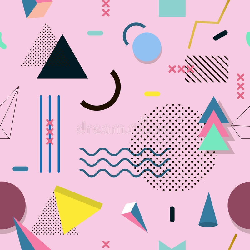 Σχέδιο της Μέμφιδας των γεωμετρικών μορφών για τον ιστό και τις κάρτες διανυσματική απεικόνιση