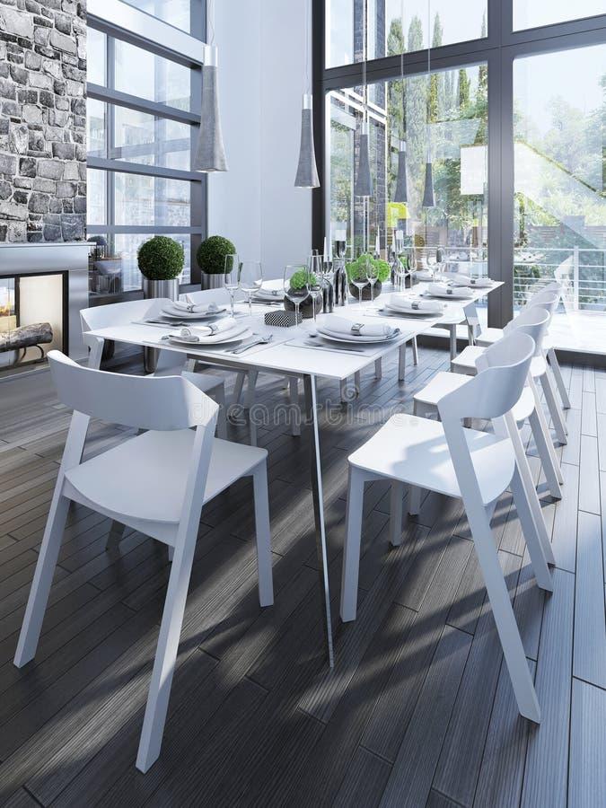 Σχέδιο της τραπεζαρίας με τα άσπρα έπιπλα στοκ εικόνες