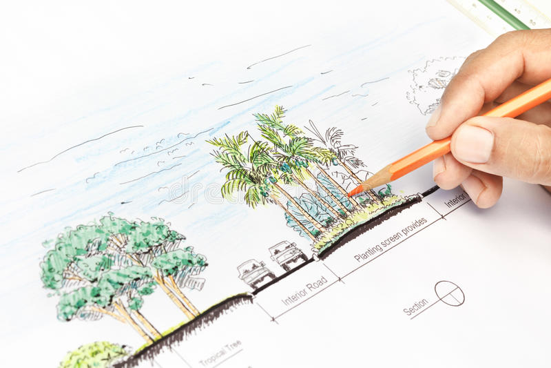 Σχέδιο τμημάτων σχεδίου αρχιτεκτόνων τοπίου στοκ εικόνα