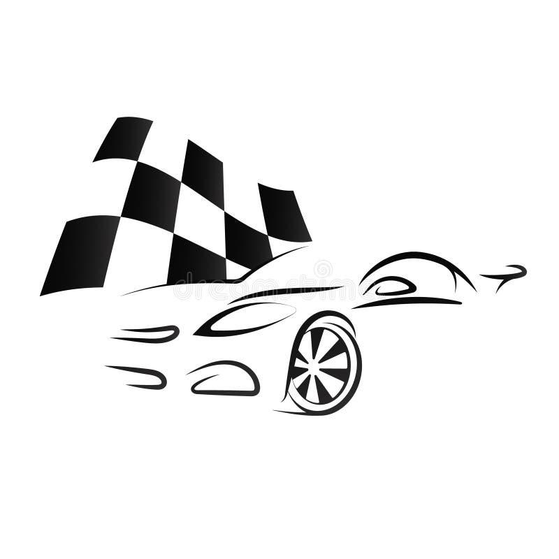 Σχέδιο του αυτοκινήτου και της ελεγμένης σημαίας διανυσματική απεικόνιση