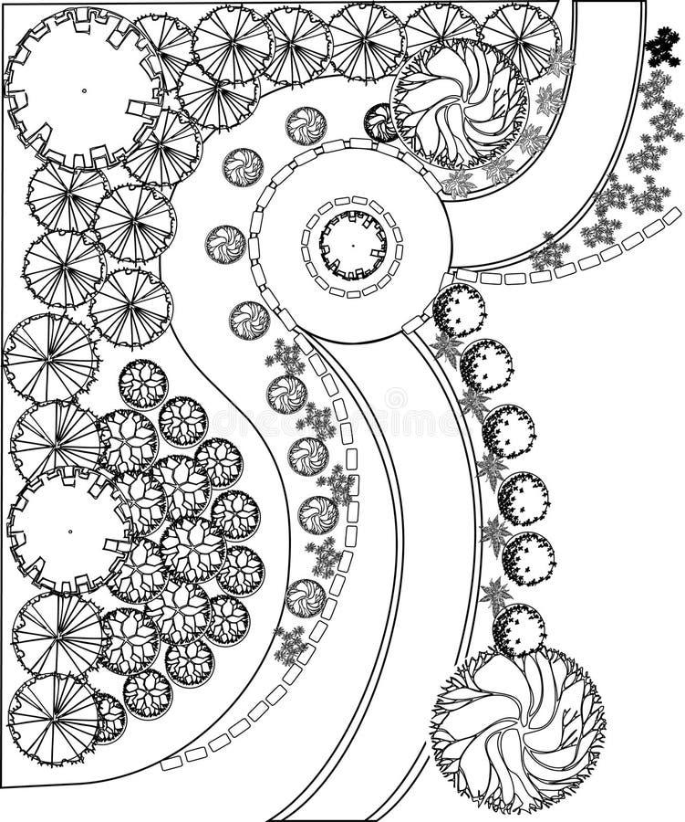 Σχέδιο του κήπου με τα σύμβολα εγκαταστάσεων διανυσματική απεικόνιση