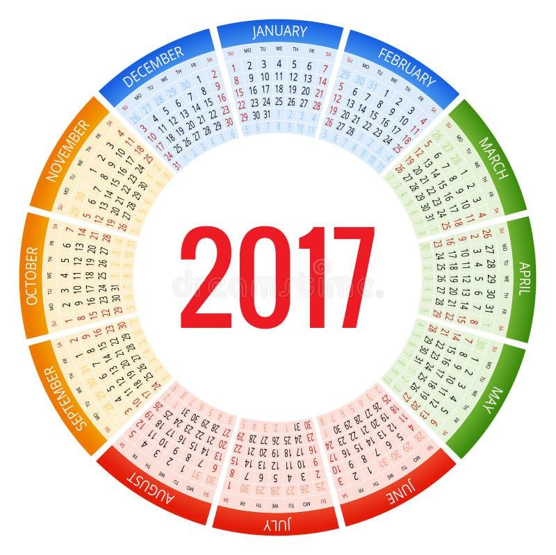 Σχέδιο του μηνιαίου ημερολογίου τοίχων για το έτος του 2017 Η εβδομάδα αρχίζει την Κυριακή Σύνολο 12 μηνών διανυσματική απεικόνιση
