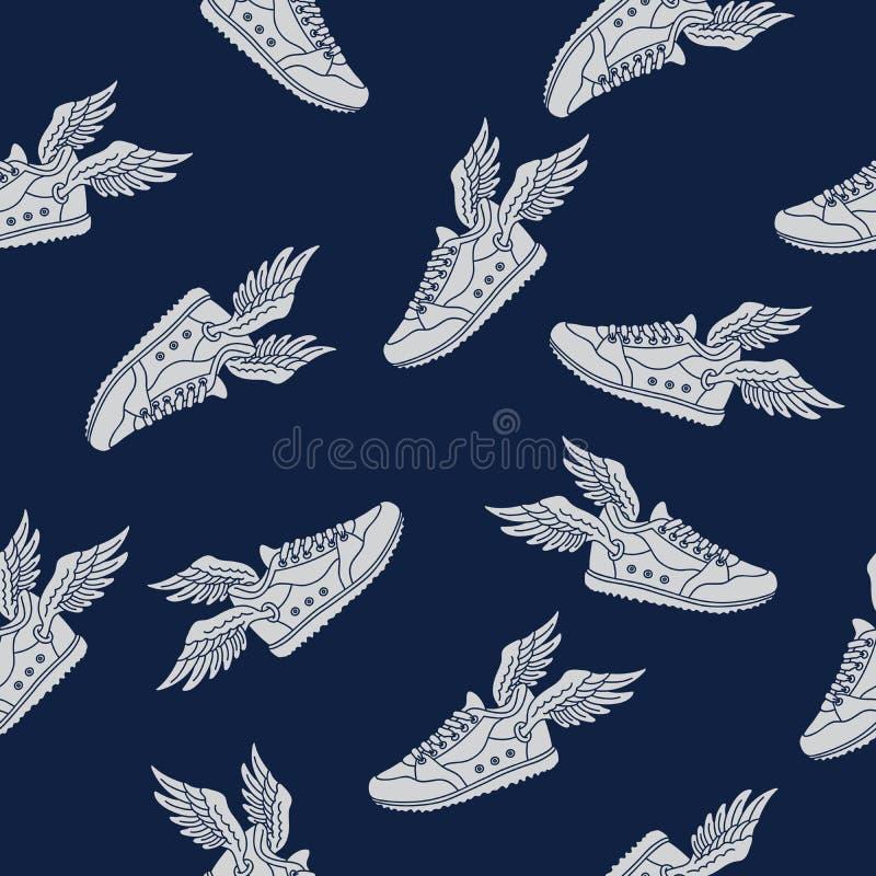Σχέδιο του πετώντας παπουτσιού διανυσματική απεικόνιση