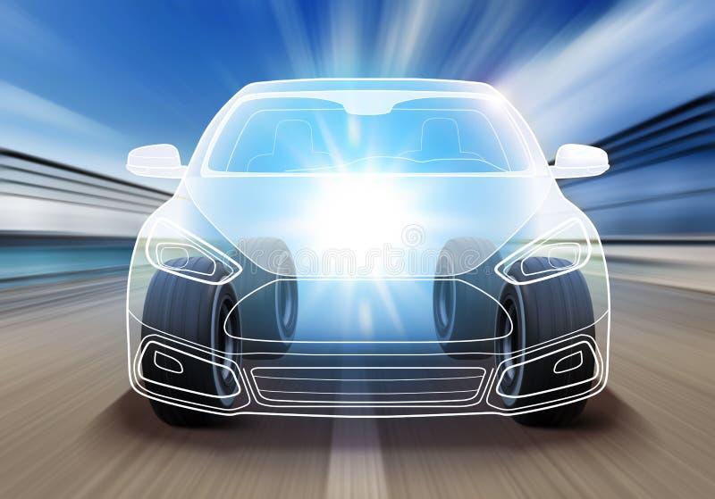 Σχέδιο του προηγμένου αυτοκινήτου διανυσματική απεικόνιση