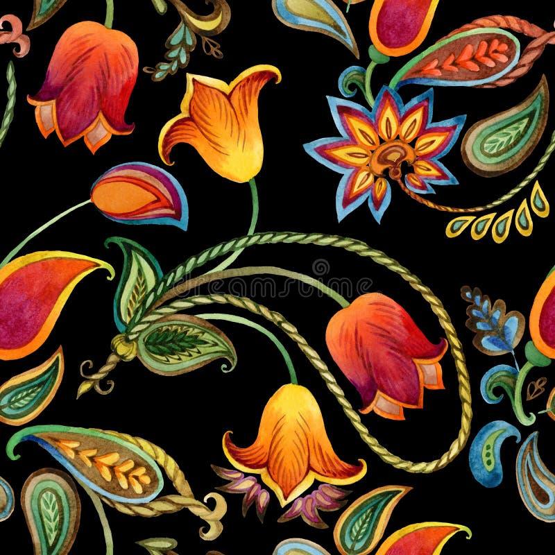 Σχέδιο του Paisley λουλουδιών Watercolor Άνευ ραφής ινδικό υπόβαθρο μοτίβου ελεύθερη απεικόνιση δικαιώματος