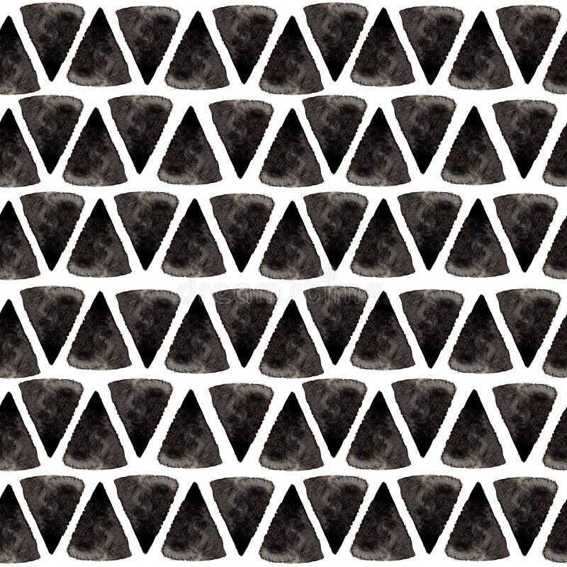 Σχέδιο τριγώνων μελανιού Η χαλαρωμένη άνευ ραφής σύσταση γεωμετρίας με το χέρι χρωμάτισε τις μορφές, τα μπλε και μαύρα χρώματα fa στοκ φωτογραφίες