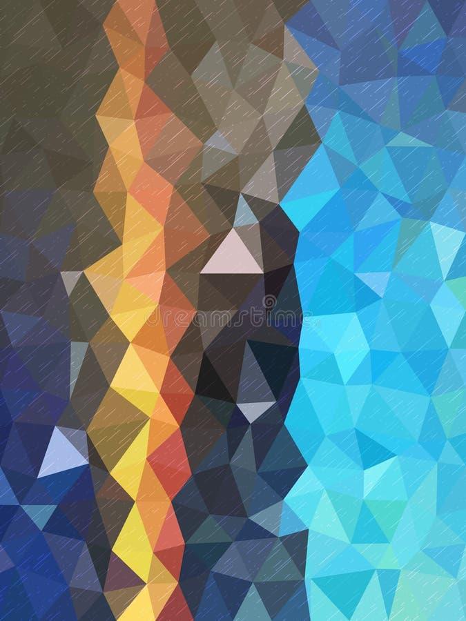 Σχέδιο τριγώνων με τη σκιά χρώματος του μπλε και λίγης γραμμής διανυσματική απεικόνιση