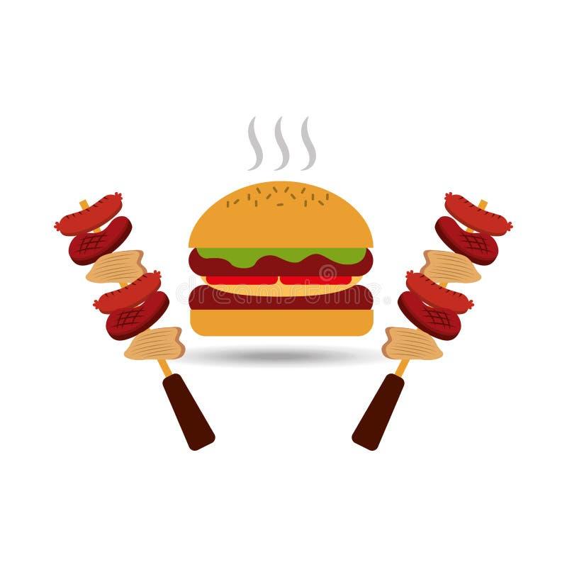 σχέδιο τροφίμων σχαρών διανυσματική απεικόνιση