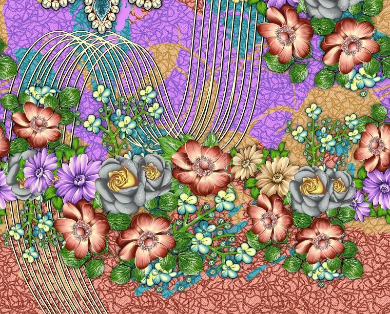 Σχέδιο τυπωμένων υλών υποβάθρου με το λουλούδι απεικόνιση αποθεμάτων