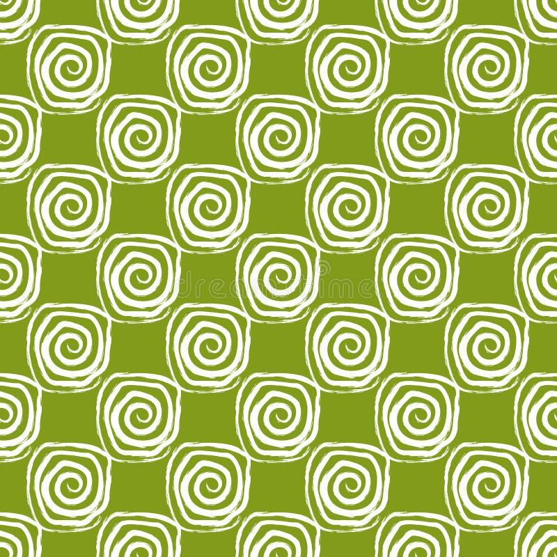 Σχέδιο των άσπρων σπειρών σε ένα πράσινο υπόβαθρο στοκ εικόνα