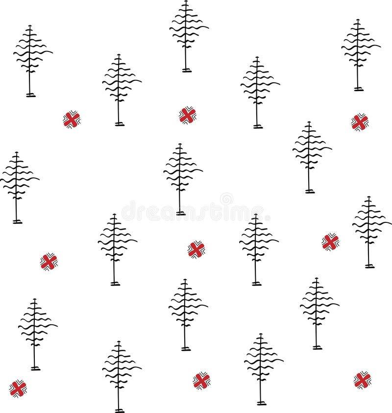 Σχέδιο των αφηρημένων δέντρων και των λουλουδιών στοκ εικόνα