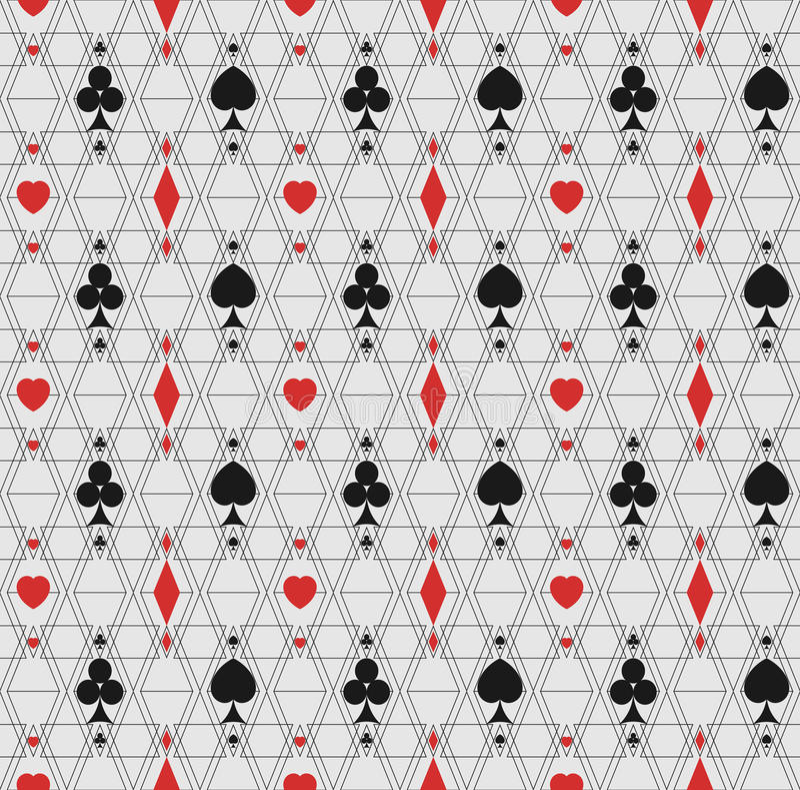 Σχέδιο των λεπτών γραμμών και σύμβολα των καρτών παιχνιδιού στοκ εικόνες