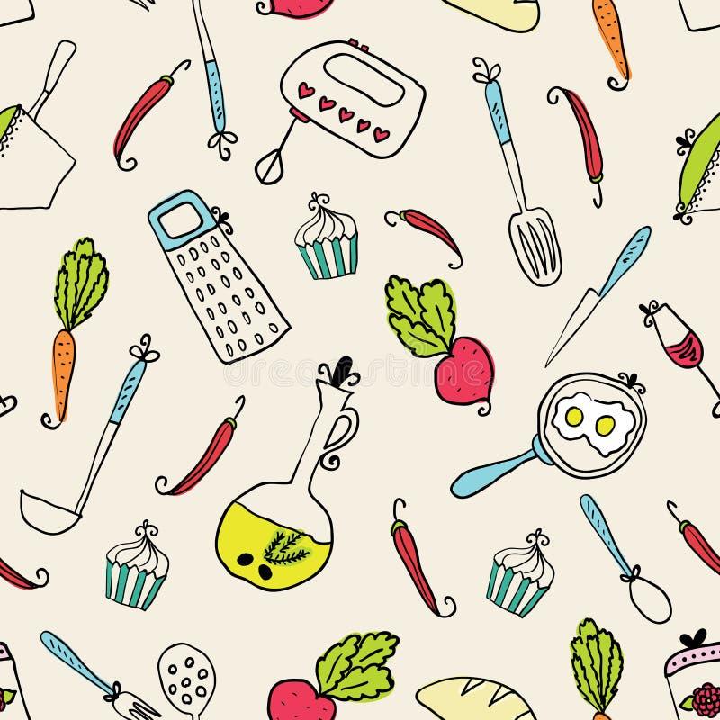Σχέδιο των εργαλείων κουζινών Στοιχεία σχεδίου της κουζίνας ελεύθερη απεικόνιση δικαιώματος