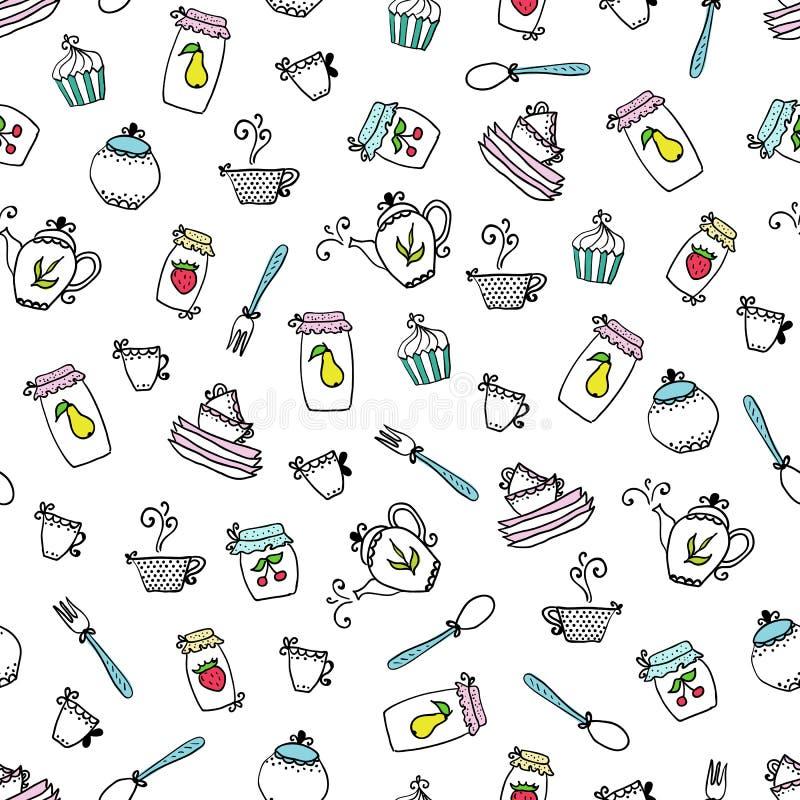 Σχέδιο των εργαλείων κουζινών Στοιχεία σχεδίου της κουζίνας διανυσματική απεικόνιση