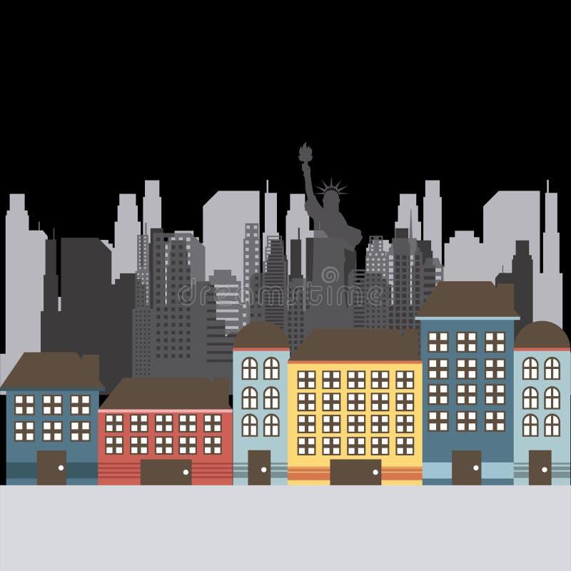 Download Σχέδιο των Ηνωμένων Πολιτειών και της Νέας Υόρκης Διανυσματική απεικόνιση - εικονογραφία από περιοχή, ορόσημο: 62704075