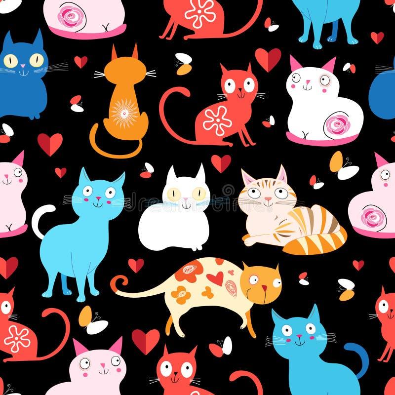 Σχέδιο των διαφορετικών γατών ελεύθερη απεικόνιση δικαιώματος
