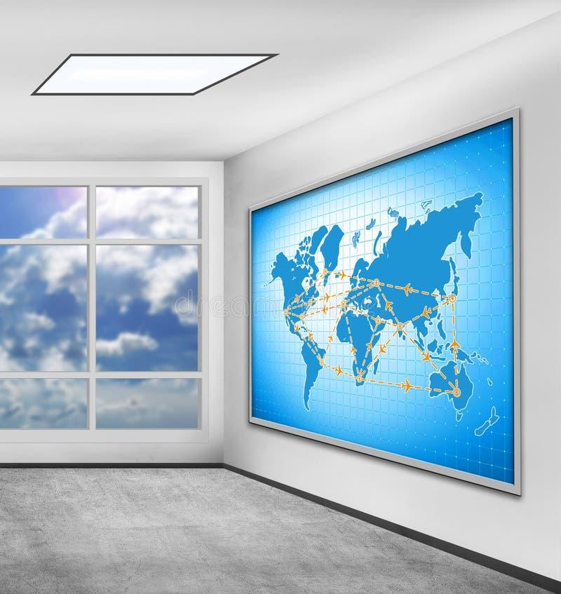 Σχέδιο των διεθνών πτήσεων στοκ εικόνες
