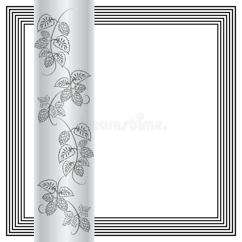 Σχέδιο των κλάδων και των κώνων λυκίσκων, φύλλα και tendrils ζυθοποιών απεικόνιση αποθεμάτων