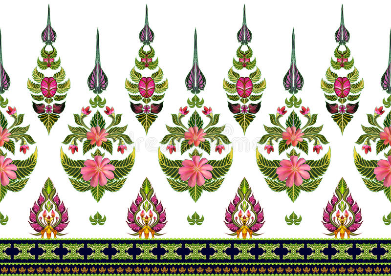 Σχέδιο των λουλουδιών και των φύλλων που απομονώνονται ελεύθερη απεικόνιση δικαιώματος