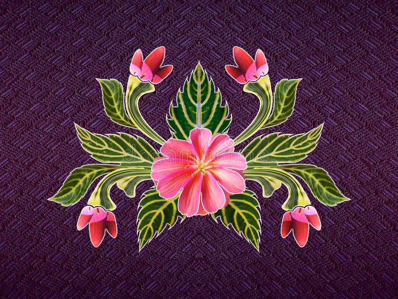 Σχέδιο των λουλουδιών και των φύλλων ελεύθερη απεικόνιση δικαιώματος