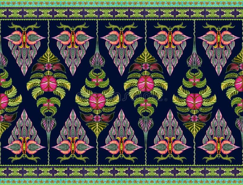 Σχέδιο των λουλουδιών και των φύλλων διανυσματική απεικόνιση