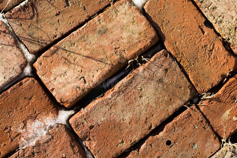 Σχέδιο των παλαιών τούβλων στο χιόνι και τον πάγο 2 στοκ εικόνες με δικαίωμα ελεύθερης χρήσης