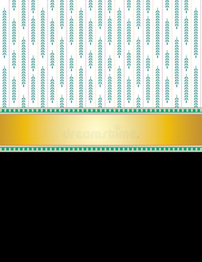 Σχέδιο των πράσινων κλαδίσκων και της χρυσής κορδέλλας ελεύθερη απεικόνιση δικαιώματος