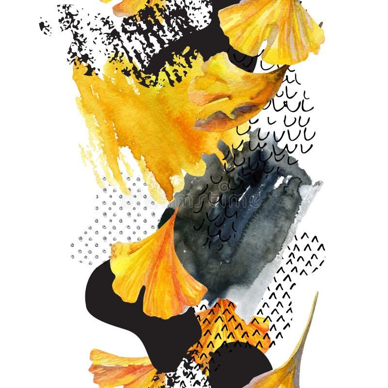 Σχέδιο των φύλλων ginkgo, μελάνι doodle, grunge, συστάσεις εγγράφου υδατοχρώματος ελεύθερη απεικόνιση δικαιώματος